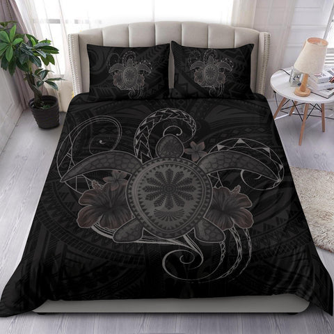Image of Hawaii Turtle Hibiscus Polynesian Bedding Set - Full Style - Gray - AH J4