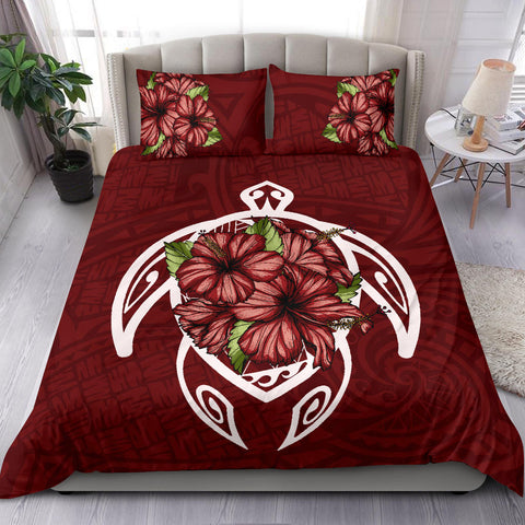 Alohawaii Bedding Set - Hawaii Turtle Hibiscus Polynesian Bedding Set - Red Two - AH J4 - Alohawaii
