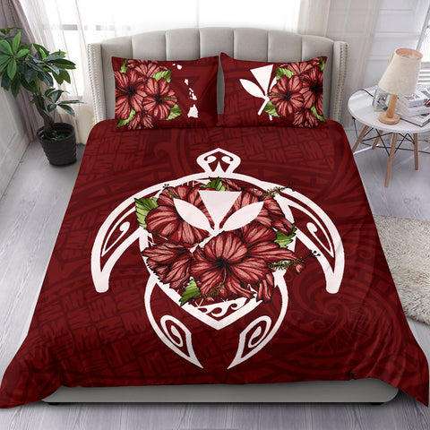 Alohawaii Bedding Set - Hawaii Turtle Hibiscus Polynesian Bedding Set - Red Four - AH J4 - Alohawaii