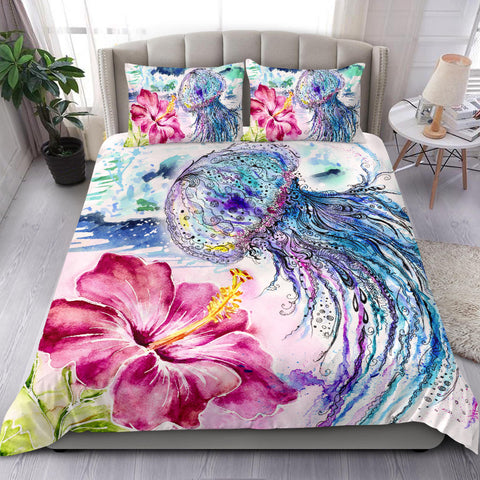 Jellyfish and Hibiscus Bedding Set
