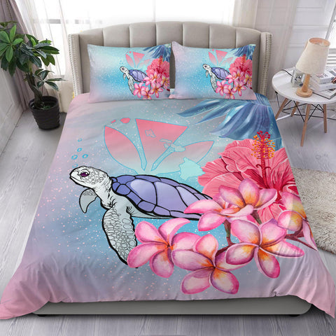 Hawaii Map Kanaka Turtle Galaxy Night Plumeria Hibiscus Bedding Set - AH - J5 - Alohawaii