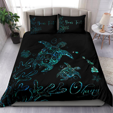 Personalized - Hawaii Turtle Ohana Paua Shell Bedding Set - AH - J4