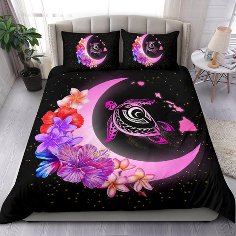 Hawaii Map Moon Star Turtle Plumeria Hibiscus Bedding Set - AH - J5
