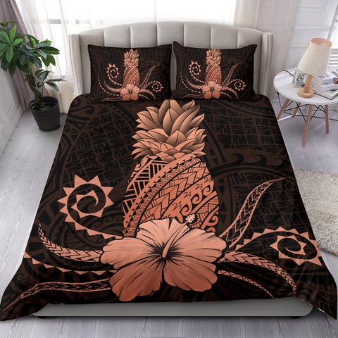 Hawaii Polynesian Pineapple Hibiscus Bedding Set - Zela Style Orange - AH - J4