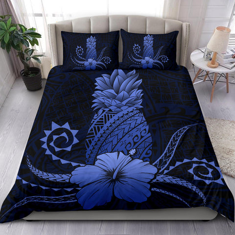 Hawaii Polynesian Pineapple Hibiscus Bedding Set - Zela Style Blue - AH - J4