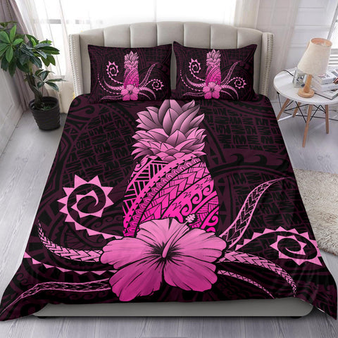 Hawaii Polynesian Pineapple Hibiscus Bedding Set - Zela Style Pink - AH - J4