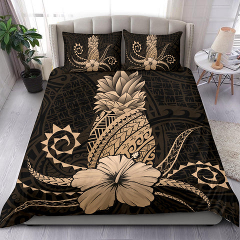 Hawaii Polynesian Pineapple Hibiscus Bedding Set - Zela Style Gold - AH - J4