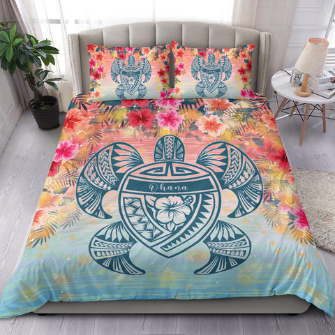 Image of Alohawaii Bedding Set - Hawaii Turtle Ohana Stary Night Hibiscus Bedding Set - AH - J4