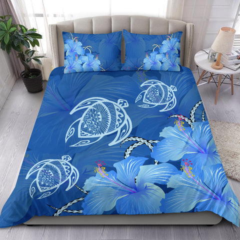Alohawaii Beding Set - Hawaii Blue Hibiscus Turtle Polynesian Bedding Set - AH - J4