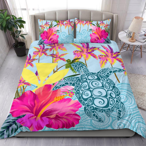 Alohawaii Bedding Set - Hawaii Sea Turtle Hibiscus Kanaka Bedding Set - AH - J4