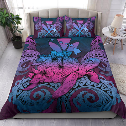 Hawaii Turtle Wave Polynesian Bedding Set - Hey Style Blue - AH - J4 - Alohawaii