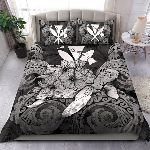 Hawaii Turtle Wave Polynesian Bedding Set - Hey Style Gray - AH - J4 - Alohawaii