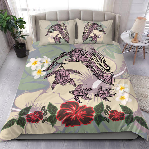 Hawaii Turtle Shark Hibiscus Bedding Set - Beige - J3
