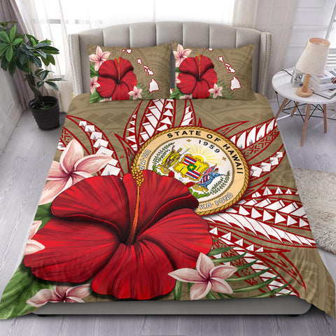 Hawaii Polynesian Coat Of Arm Tropical Bedding Set - AH - J4