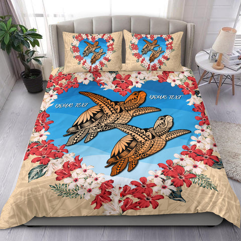 (Personalised) Hawaii Turtle Hibiscus Polynesian Valentines Bedding Set - Life Style - AH - J4