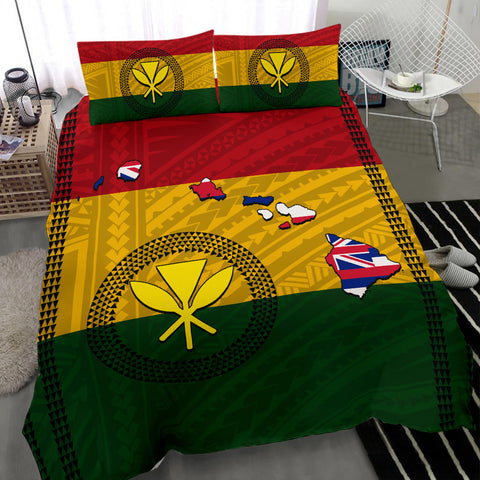 Hawaiian Kanaka Flag Polynesian Bedding Set - AH - J6