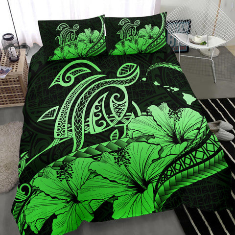 Hawaiian Map Hibiscus Turtle Polynesian Bedding Set Green - AH - J1