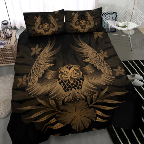 Image of Hawaiian Owl Hibiscus Plumeria Polynesian Bedding Set - Gold - AH J4