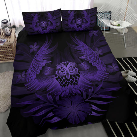 Hawaiian Owl Hibiscus Plumeria Polynesian Bedding Set - Purple - AH J4