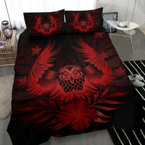 Hawaiian Owl Hibiscus Plumeria Polynesian Bedding Set - Red - AH J4