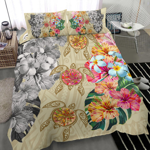 Image of Hawaii Polynesian Flowers Swimming Turtles Bedding Set - AH - J5 - Alohawaii