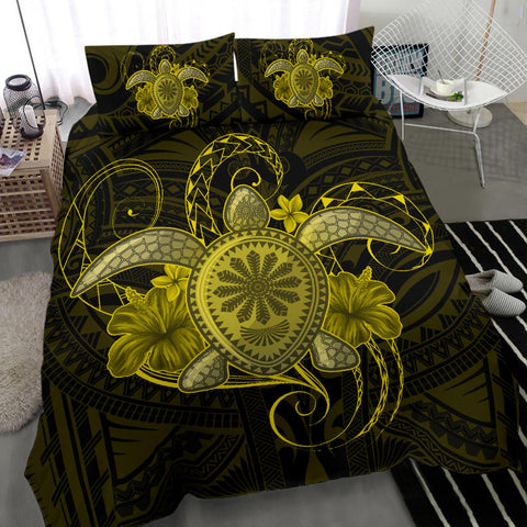 Image of Hawaii Turtle Hibiscus Polynesian Bedding Set - Full Style - Yellow - AH J4