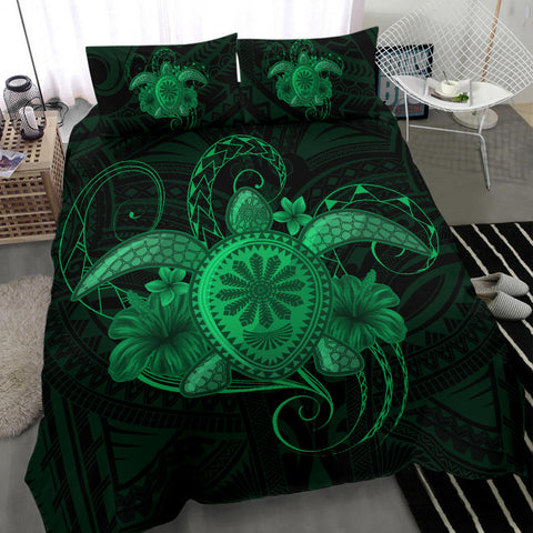 Image of Hawaii Turtle Hibiscus Polynesian Bedding Set - Full Style - Green - AH J4