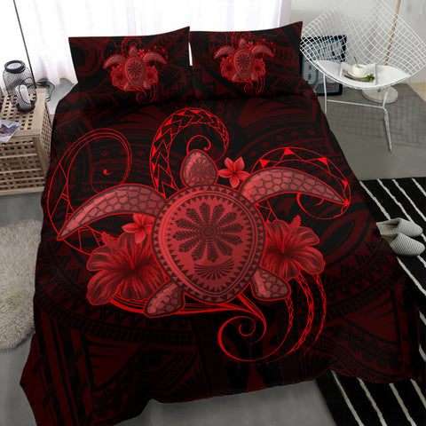 Hawaii Turtle Hibiscus Polynesian Bedding Set - Full Style - Red - AH J4