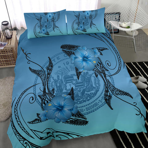 Image of Hawaii Whale Coat Of Arm Polynesian Bedding Set - AH J4