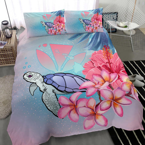 Image of Hawaii Map Kanaka Turtle Galaxy Night Plumeria Hibiscus Bedding Set - AH - J5 - Alohawaii