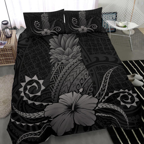 Hawaii Polynesian Pineapple Hibiscus Bedding Set - Zela Style Gray - AH - J4