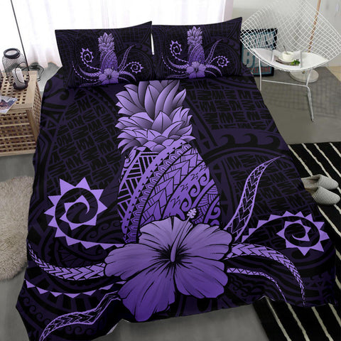Hawaii Polynesian Pineapple Hibiscus Bedding Set - Zela Style Purple - AH - J4