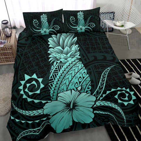 Hawaii Polynesian Pineapple Hibiscus Bedding Set - Zela Style Turquoise - AH - J4