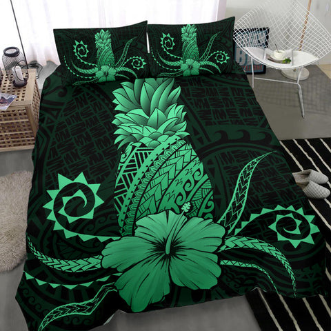 Hawaii Polynesian Pineapple Hibiscus Bedding Set - Zela Style Green - AH - J4