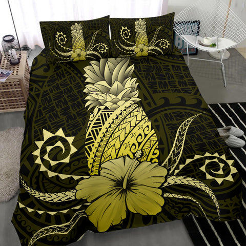 Hawaii Polynesian Pineapple Hibiscus Bedding Set - Zela Style Yellow - AH - J4