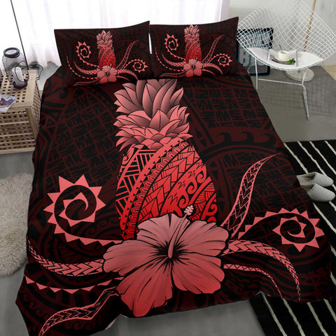 Hawaii Polynesian Pineapple Hibiscus Bedding Set - Zela Style Red - AH - J4