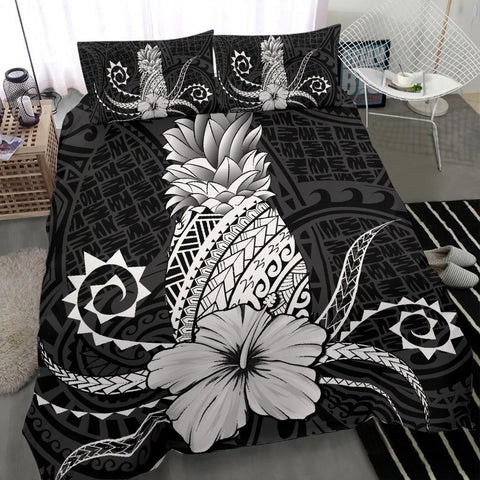 Hawaii Polynesian Pineapple Hibiscus Bedding Set - Zela Style White - AH - J4