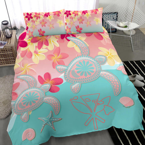 Hawaii Sea Turtle Plumeria Bedding Set - Ane Style - AH - J4