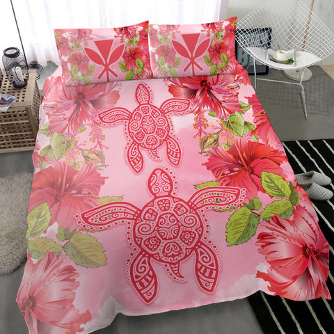 Alohawaii Bedding Set - Hawaii Turtle Hibiscus Bedding Set - Pink Style - AH - J4