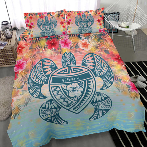 Alohawaii Bedding Set - Hawaii Turtle Ohana Stary Night Hibiscus Bedding Set - AH - J4 - Alohawaii
