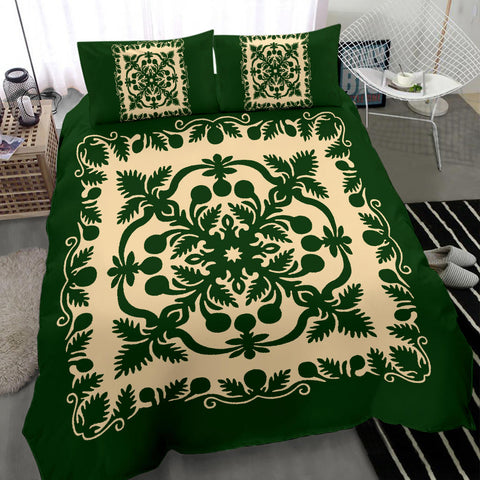 Image of Hawaiian Bedding Set Royal Pattern - Emerald Green - AH - J6 - Alohawaii