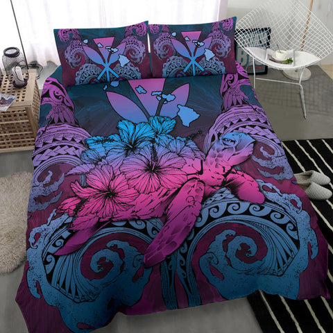 Image of Hawaii Turtle Wave Polynesian Bedding Set - Hey Style Blue - AH - J4 - Alohawaii