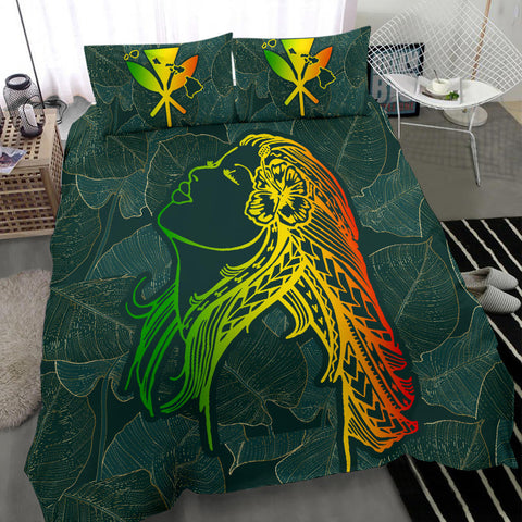 Image of Alohawaii Bedding Set - Hawaii Monstera Kalo Hula Girl Kanaka Maoli Bedding Set - AH - J4 - Alohawaii
