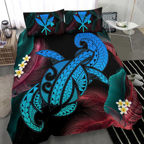 Hawaii Turtle Polynesian Tropical Bedding Set - Ghia Style Turquoise - AH - J4 - Alohawaii