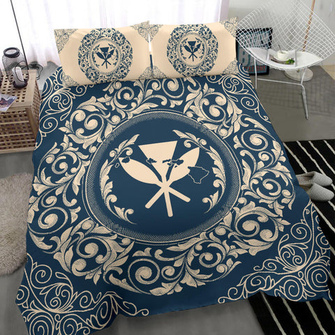 Hawaii Map Classic Floral Bedding Set Blue - AH - J5