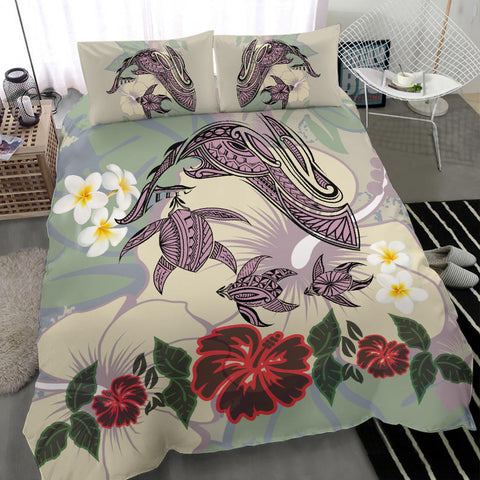 Hawaii Turtle Shark Hibiscus Bedding Set - Beige