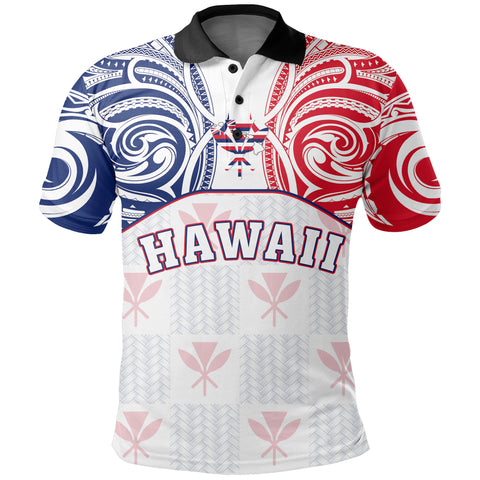 Hawaiian Kanaka Polo Shirt Flag Nation Demodern White AH J1 - Alohawaii