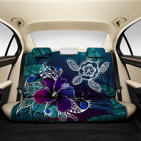 Alohawaii Back Car Seat Covers - Hawaii Turtle Flowers And Palms Retro - AH J8 - Alohawaii