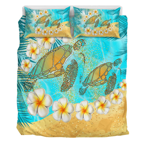 Hawaii Turtle Plumeria Summer Bedding Set - Sea Style - AH - JA