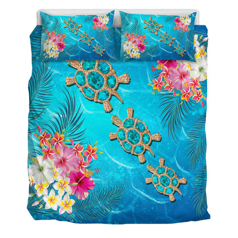 Hawaii Turtle Ocean Tropical Flowers Bedding Set - Siri Style - AH - J2